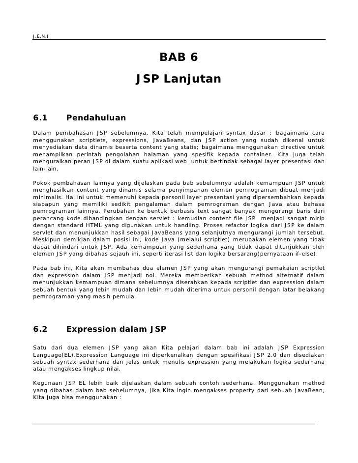 J.E.N.I                                               BAB 6                                   JSP Lanjutan   6.1          ...