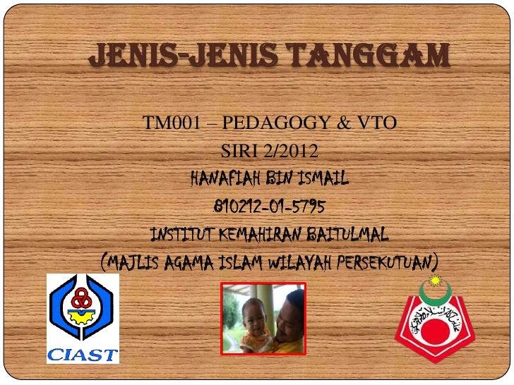 JENIS-JENIS TANGGAM     TM001 – PEDAGOGY & VTO               SIRI 2/2012           HANAFIAH BIN ISMAIL              810212...