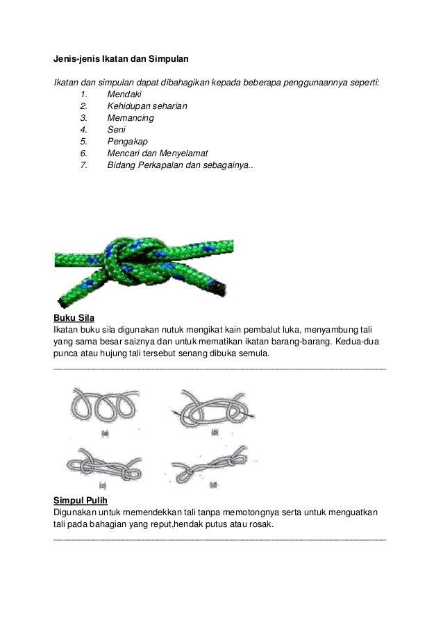 Jenis-jenis Ikatan dan Simpulan Ikatan dan simpulan dapat dibahagikan kepada beberapa penggunaannya seperti: 1. Mendaki 2....