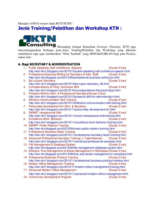 Jenis Training, Pelatihan dan Workshop di KTN Consulting