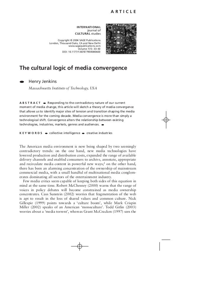 Jenkins henry the cultural logic of media convergence