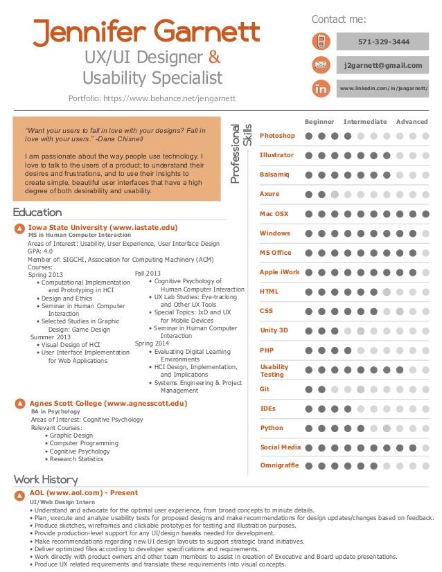 ux resume summary