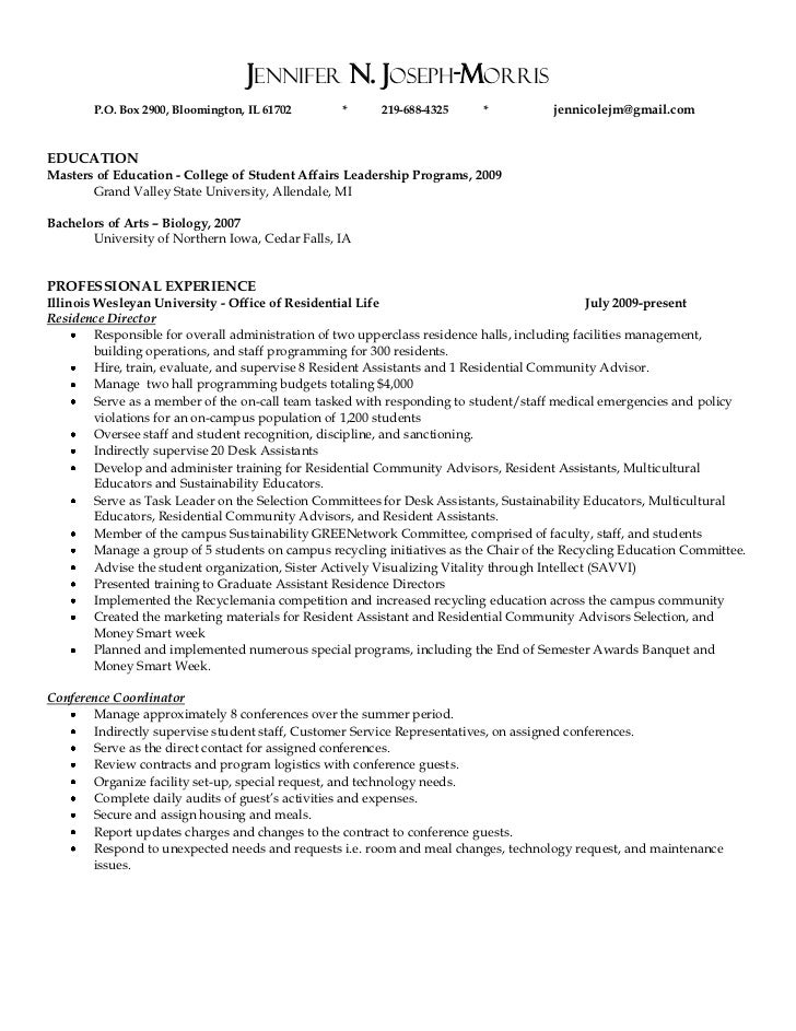 Sample Cover Letter For College Resident Assistant