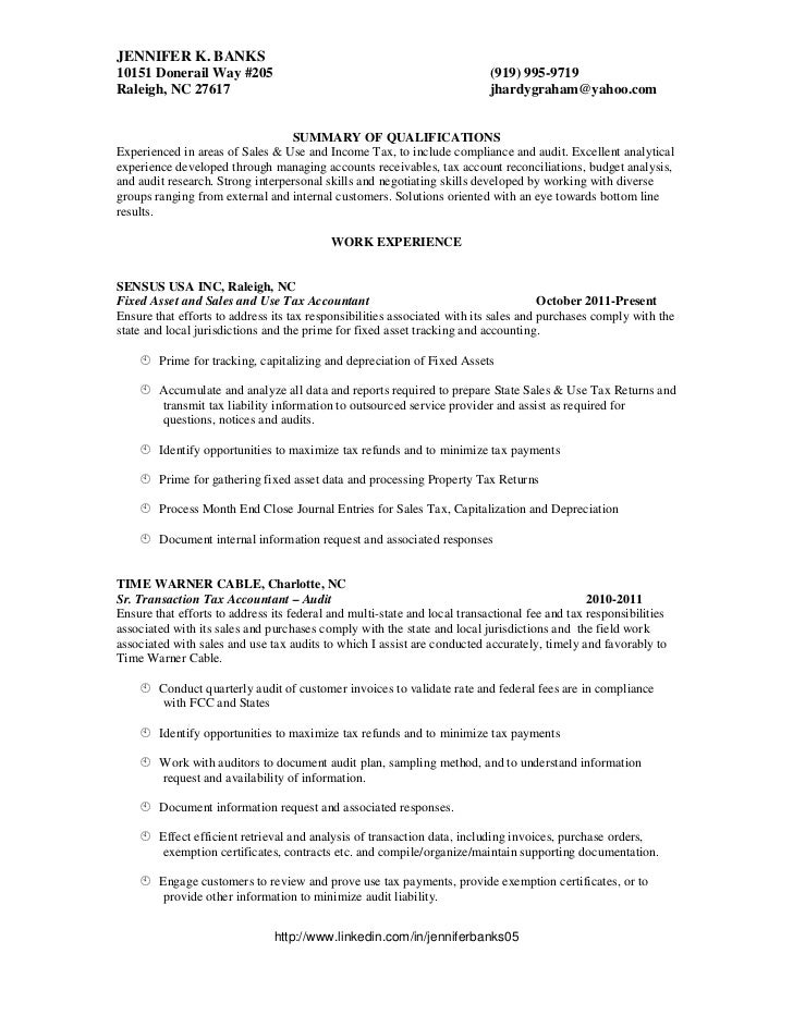 Property tax accountant resume