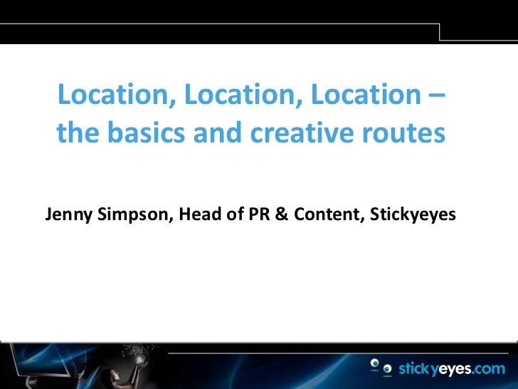 Location, location, location - Jenny Simpson