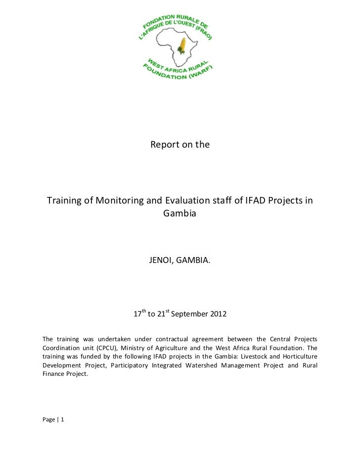 Report on the Training of Monitoring and Evaluation staff of IFAD Projects in Gambia