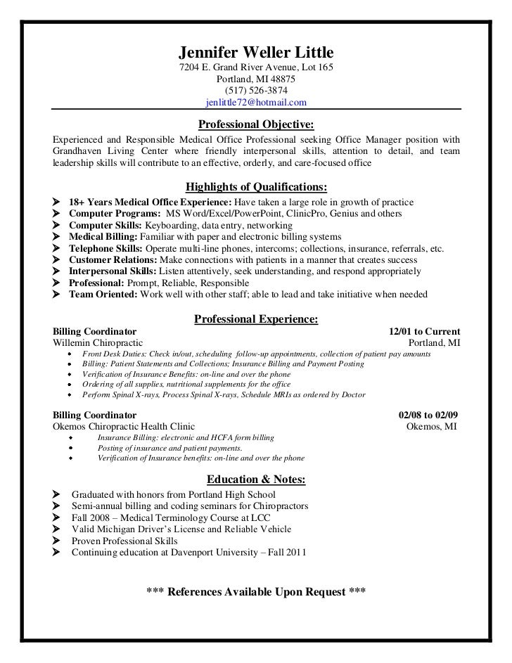 Insurance Billing Specialist Sample Resume Permalink To Sample