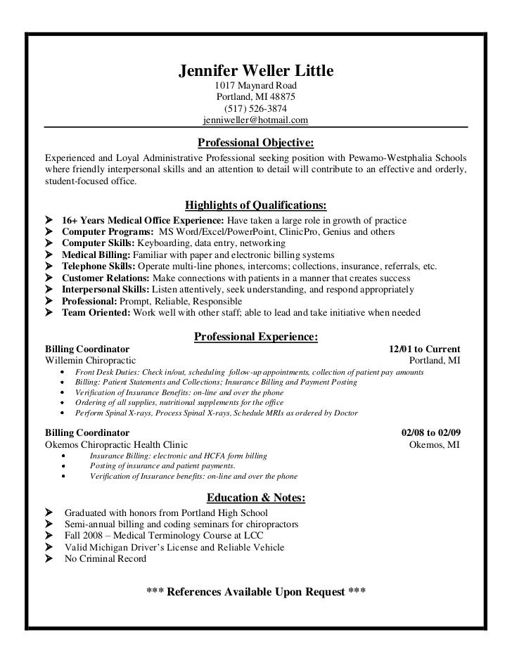 Sample resume for medical biller and coder