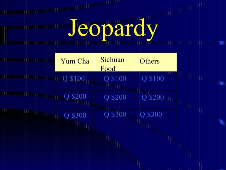 Jeopardy Yum Cha Sichuan Food Q $100 Q $200 Q $300 Q $100 Q $100 Q $200 Q $200 Q $300 Q $300 Others