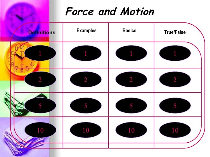 1 2 5 10 Force and Motion True/False Examples Basics 1 2 5 10 1 2 5 10 1 2 5 10 Definitions
