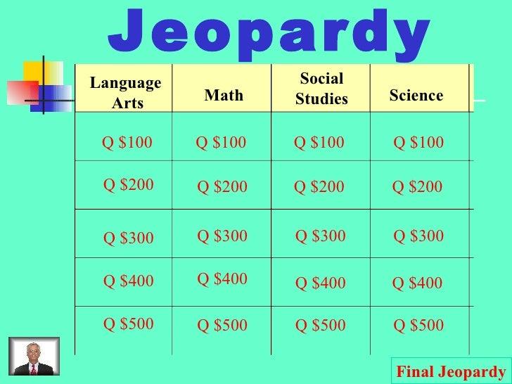 Jeopardy Language  Arts Math Social Studies Science Q $100 Q $200 Q $300 Q $400 Q $500 Q $100 Q $100 Q $100 Q $200 Q $200 ...