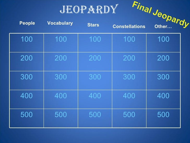 Jeopardy   People Vocabulary Constellations Stars Other… 100 100 100 100 100 200 200 200 200 200 300 300 300 300 300 400 4...
