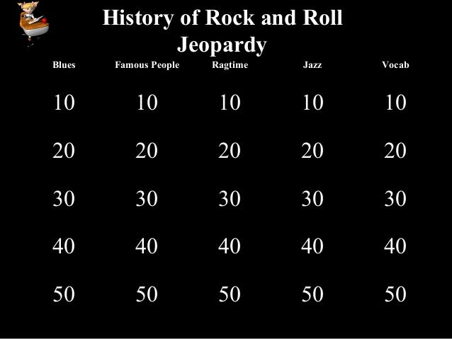 History of Rock and Roll Jeopardy Blues Famous People Ragtime Jazz Vocab 10 10 10 10 10 20 20 20 20 20 30 30 30 30 30 40 4...