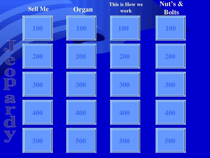 Jeopardy 100 100 100 100 200 300 400 500 Sell Me Organ This is How we work Nut's & Bolts Jeopardy 200 300 400 500 200 300 ...