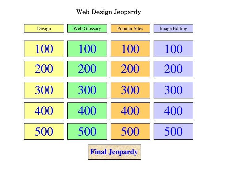Web Design Jeopardy 100 200 300 400 500 100 200 300 400 500 100 200 300 400 500 100 200 300 400 500 Design Web Glossary Po...