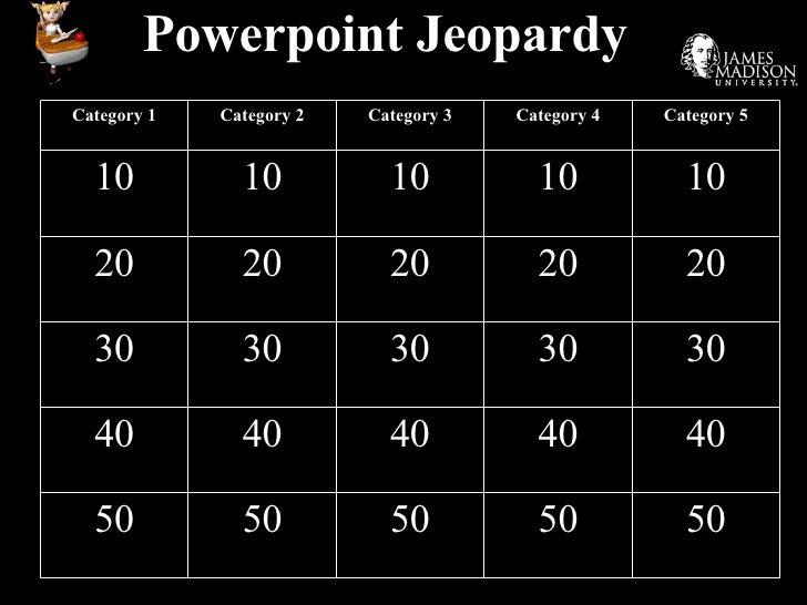 Powerpoint Jeopardy Category 1 Category 2 Category 3 Category 4 Category 5 10 10 10 10 10 20 20 20 20 20 30 30 30 30 30 40...