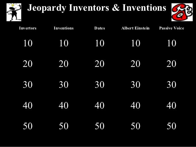 Jeopardy Inventors & InventionsInvertors   Inventions   Dates   Albert Einstein   Passive Voice 10           10         10...