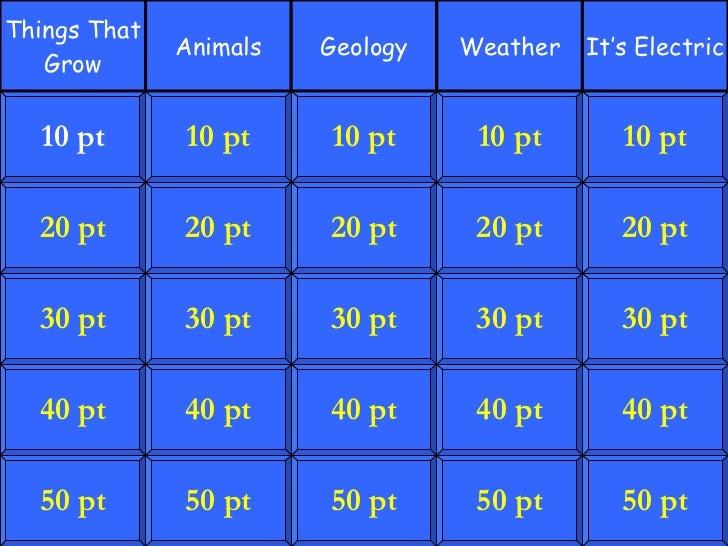 Jeopardy - Science - 5th Grade 5 Category