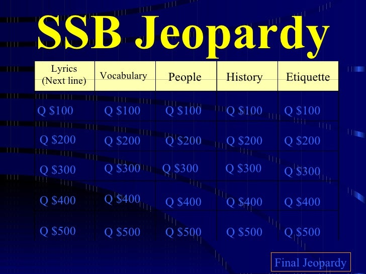 SSB Jeopardy Lyrics (Next line) Vocabulary People Etiquette Q $100 Q $200 Q $300 Q $400 Q $500 Q $100 Q $100 Q $100 Q $100...