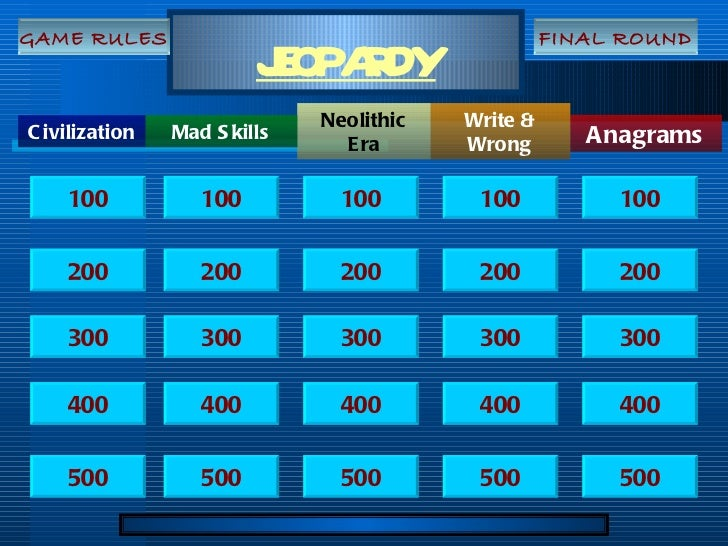JEOPARDY Civilization Anagrams Neolithic Era Write & Wrong Mad Skills 100 200 300 400 500 100 100 100 100 200 200 200 200 ...