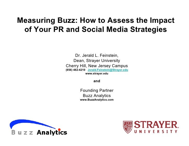 Measuring Buzz: How to Assess the Impact  of Your PR and Social Media Strategies                   Dr. Jerald L. Feinstein...