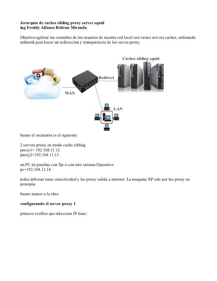 Jerarquia de caches sibling proxy server squiding Freddy Alfonso Beltran MirandaObjetivo:agilizar las consultas de los usu...