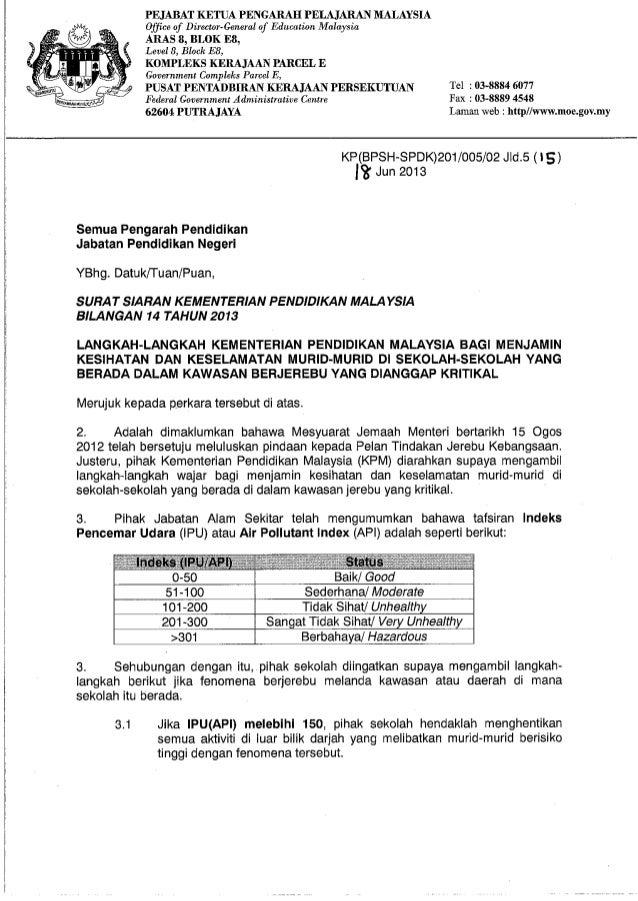 SURAT SIARAN KEMENTERIAN PENDIDIKAN MALAYSIA BIL.14 TAHUN 2013: BERKAITAN JEREBU