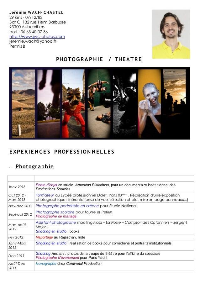 CV Jeremie Wach-Chastel _-_ Theatre & photographie