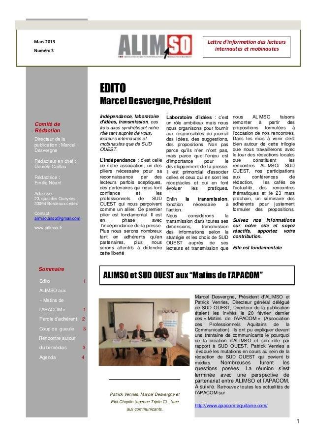 Mars 2013                                                                           Lettre d'information des lecteursNumér...
