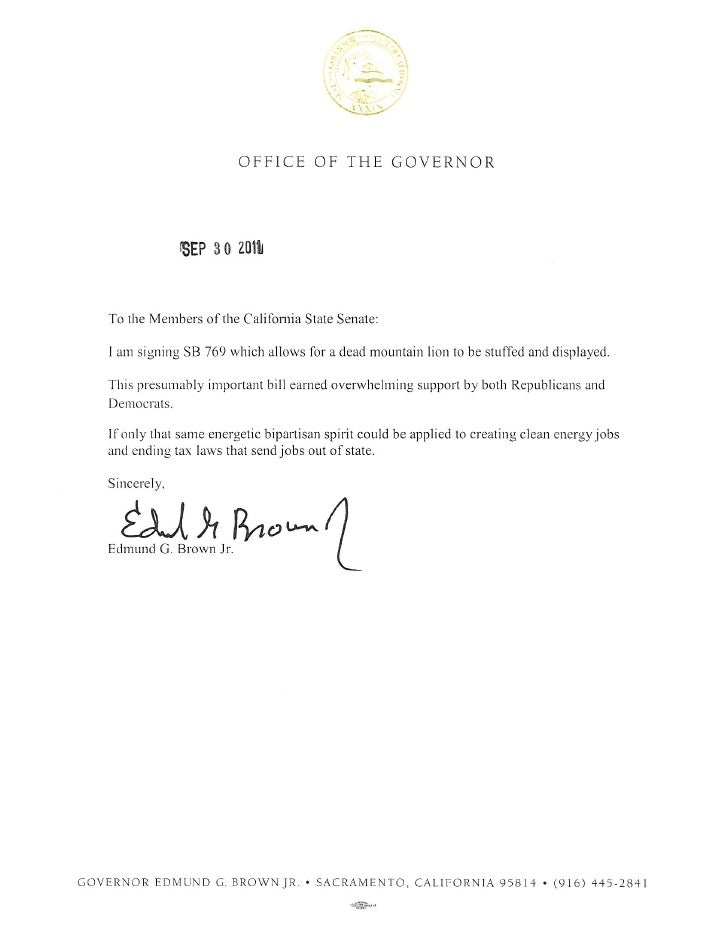 Jerry Brown signing message
