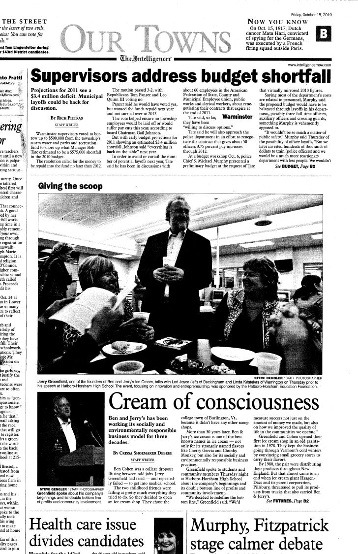 Jerry greenfield  intelligencer our town 10-15-10