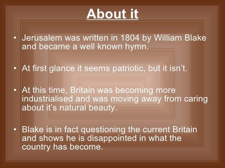 William Blake jerusalem analysis