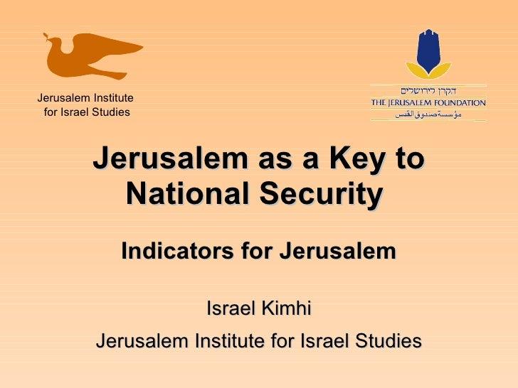 Jerusalem As A Key To National Security