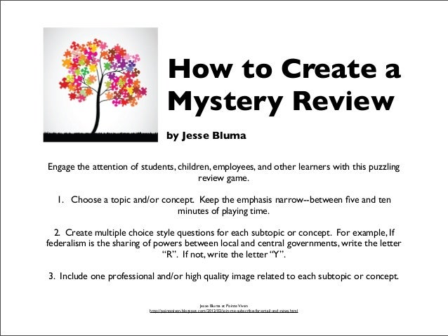 How to Create a Mystery Review Game by Jesse Bluma