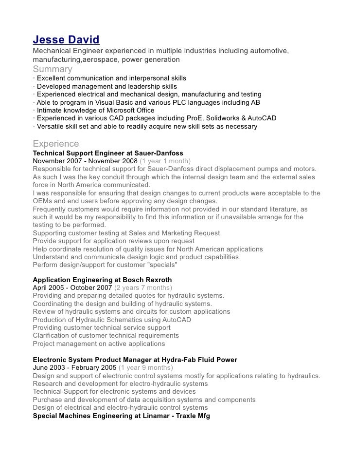 sample resume download for mechanical engineer