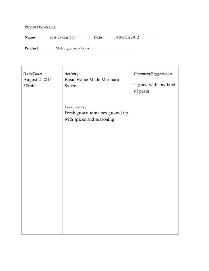 Jessica garrett  product work log