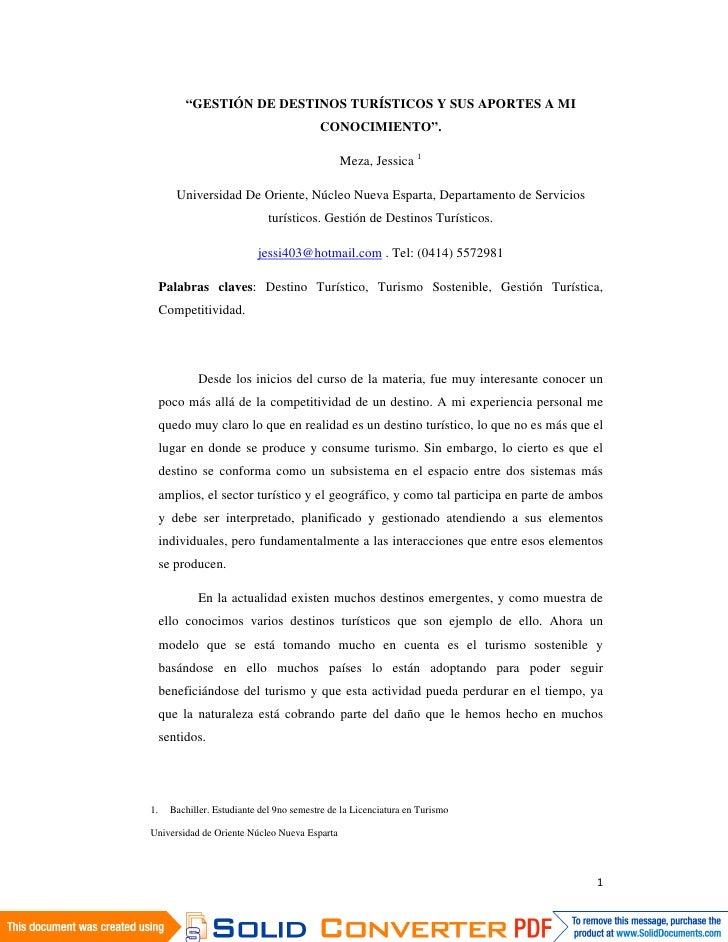 """""""GESTIÓN DE DESTINOS TURÍSTICOS Y SUS APORTES A MI                                            CONOCIMIENTO"""".              ..."""