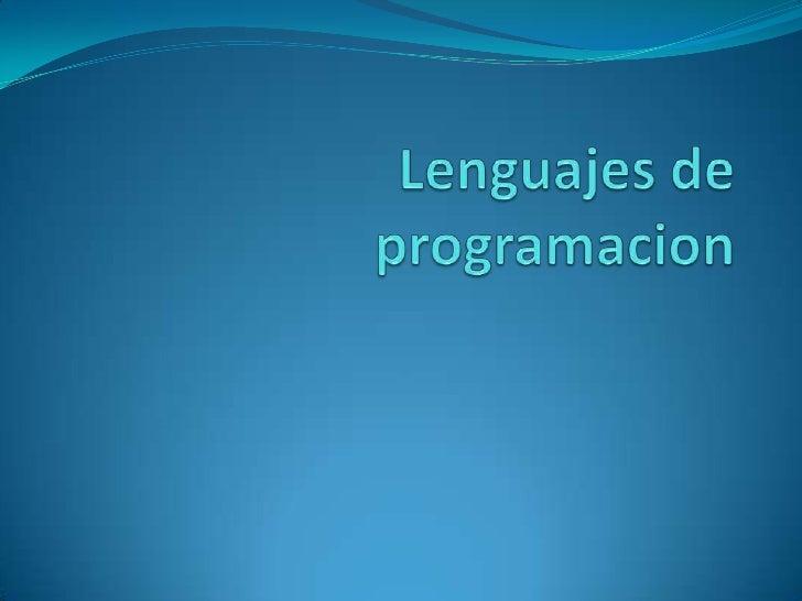 Lenguajes de programacion<br />