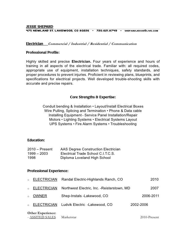 cv for electrician electrical supervisor technician electrician ...