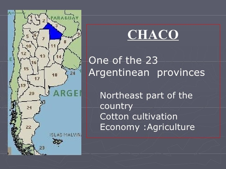 <ul><li>CHACO </li></ul><ul><li>One of the 23 Argentinean  provinces </li></ul><ul><ul><li>Northeast part of the country <...