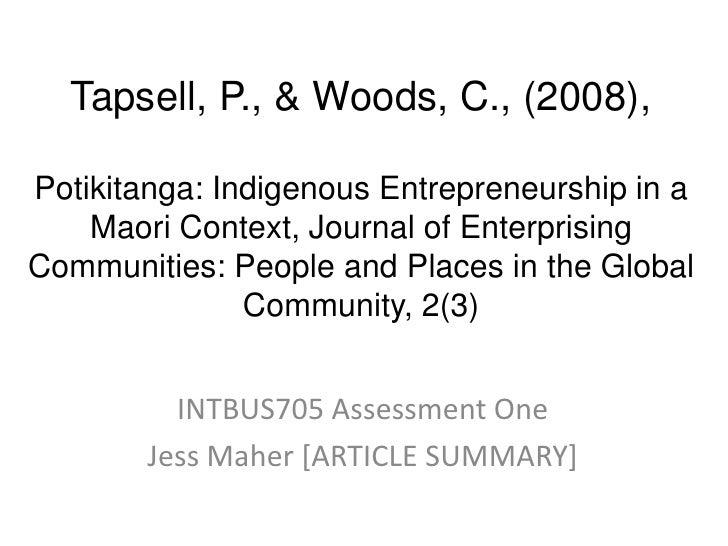 Maori Entrepreneurship- Potiki-ranga balance