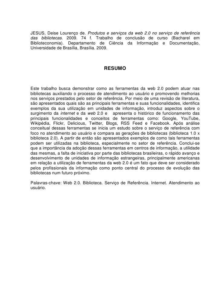 Jesus, Deise Lourenco De. Monografia