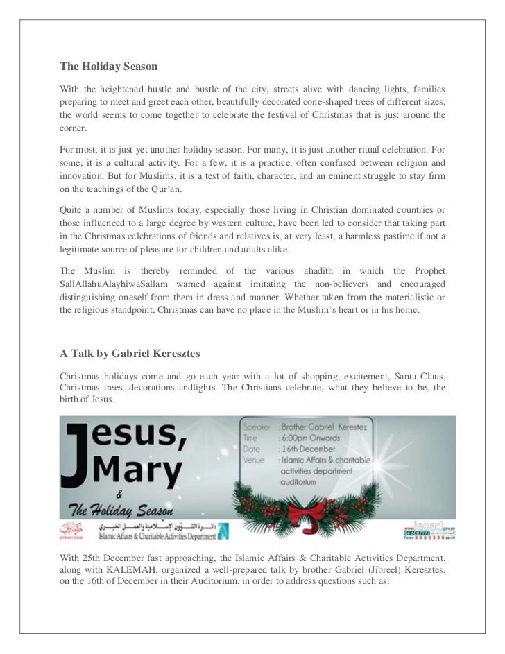 Jesus, Mary & the Holiday Season - A Talk by brother Gabriel Keresztes