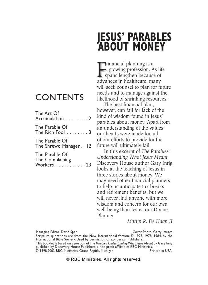 JESUS' PARABLES                                           ABOUT MONEY                                            F        ...
