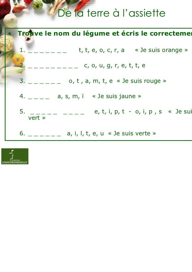 De la terre à l'assiette• Trouve le nom du légume et écris le correctement.   1. _ _ _ _ _ _ _       t, t, e, o, c, r, a  ...