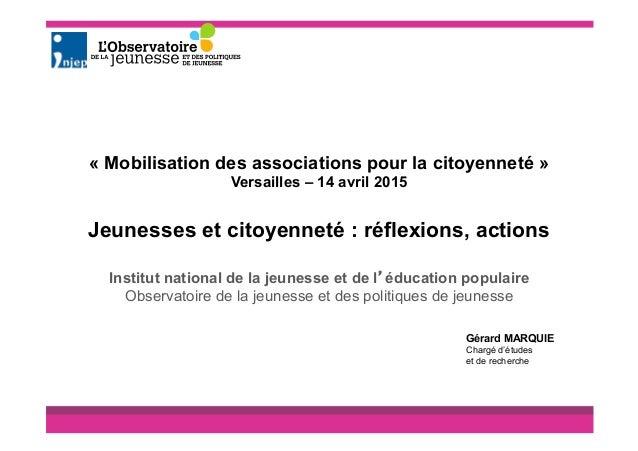Institut national de la jeunesse et de l'éducation populaire Observatoire de la jeunesse et des politiques de jeunesse « M...