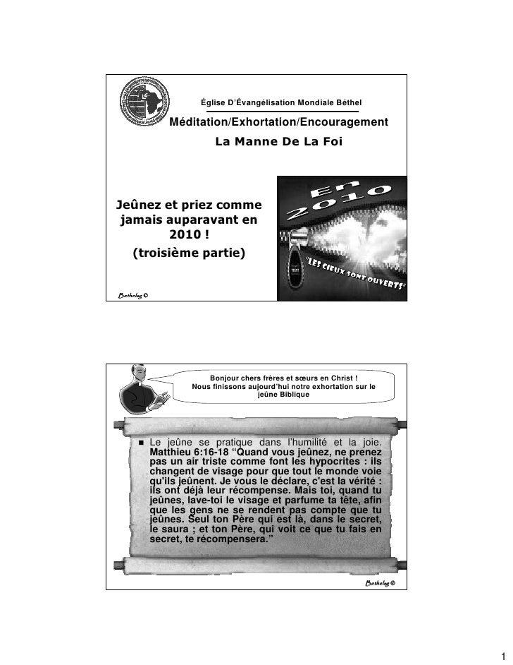 Église D'Évangélisation Mondiale Béthel                   Méditation/Exhortation/Encouragement                            ...