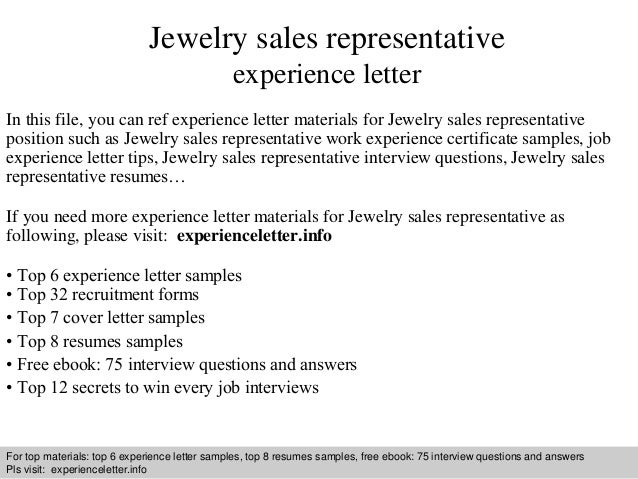 Jewelry sales representative experience letter