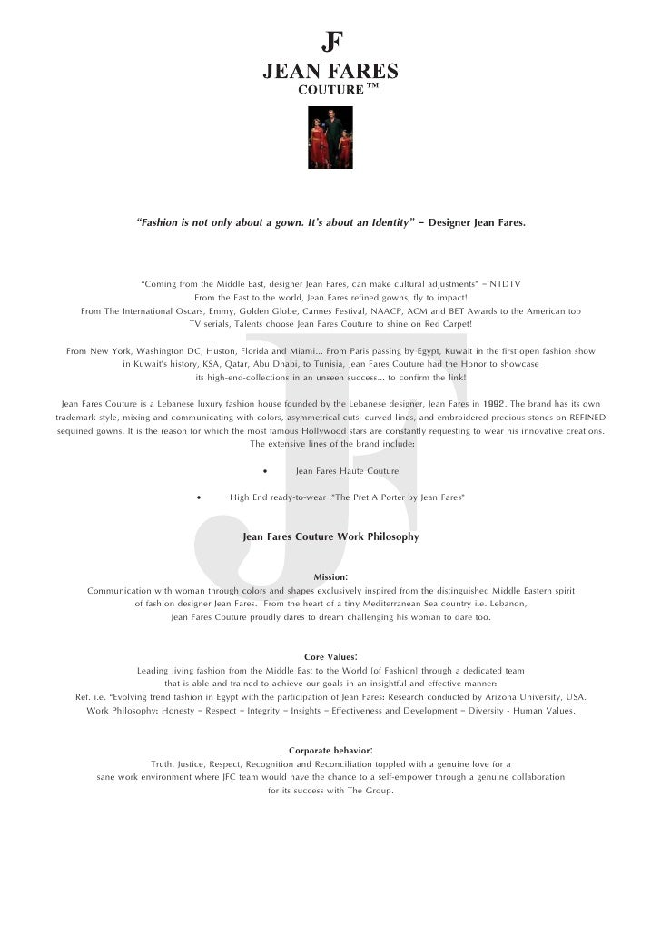 Jean Fares Couture Bio - Update, April 2012