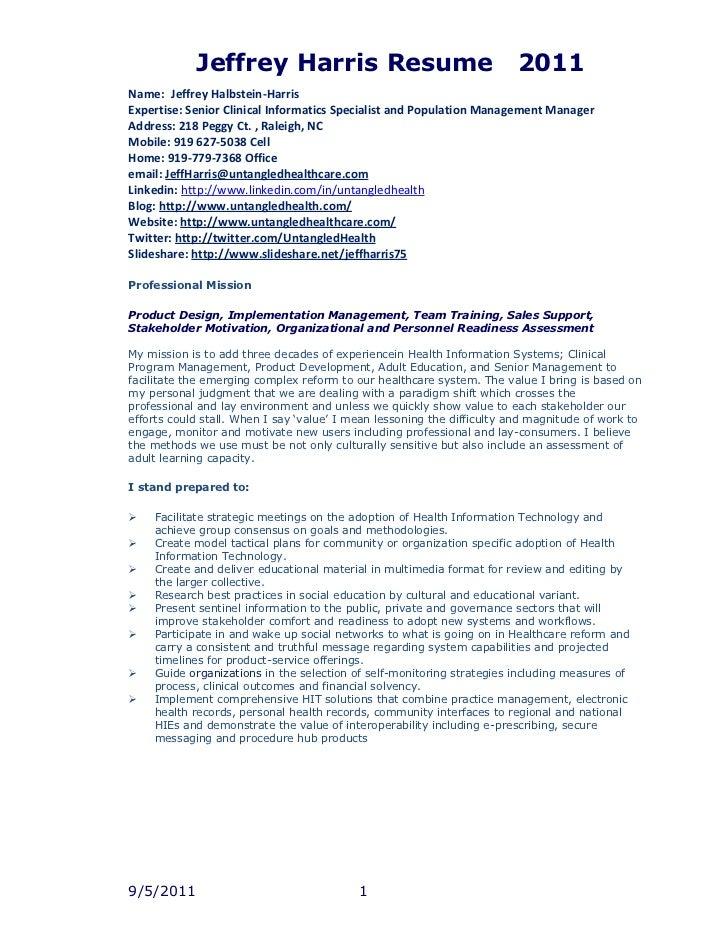 Name:Jeffrey Halbstein-HarrisExpertise: Senior Clinical Informatics Specialist and Population Management ManagerAddress: 2...